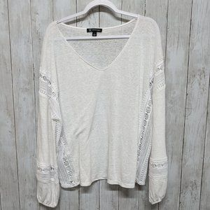 INC/International Concepts White Long Sleeve Top